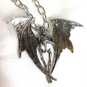 Mythical Winged Skeleton Creature Necklace